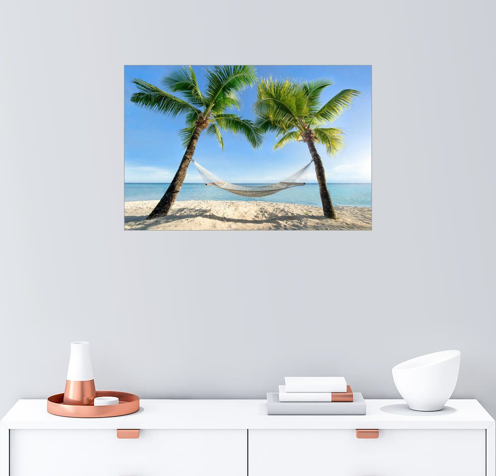Posterlounge Wandbild - Jan Christopher Becke »Hängematte am Strand mit Palmen in der Südsee« | Dekoration > Bilder und Rahmen > Bilder | Holz | Posterlounge
