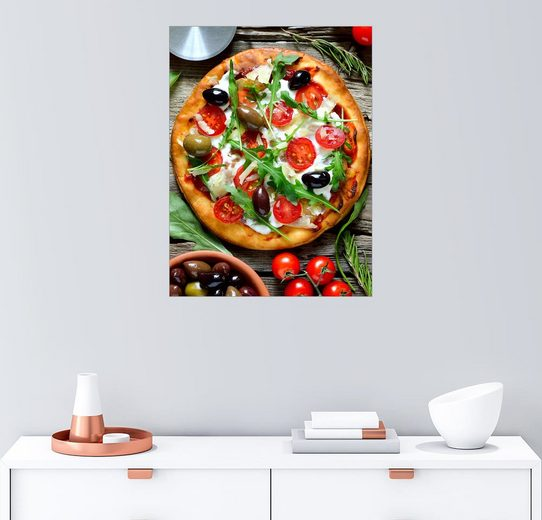 Posterlounge Wandbild »Frische selbst gemachte Pizza«
