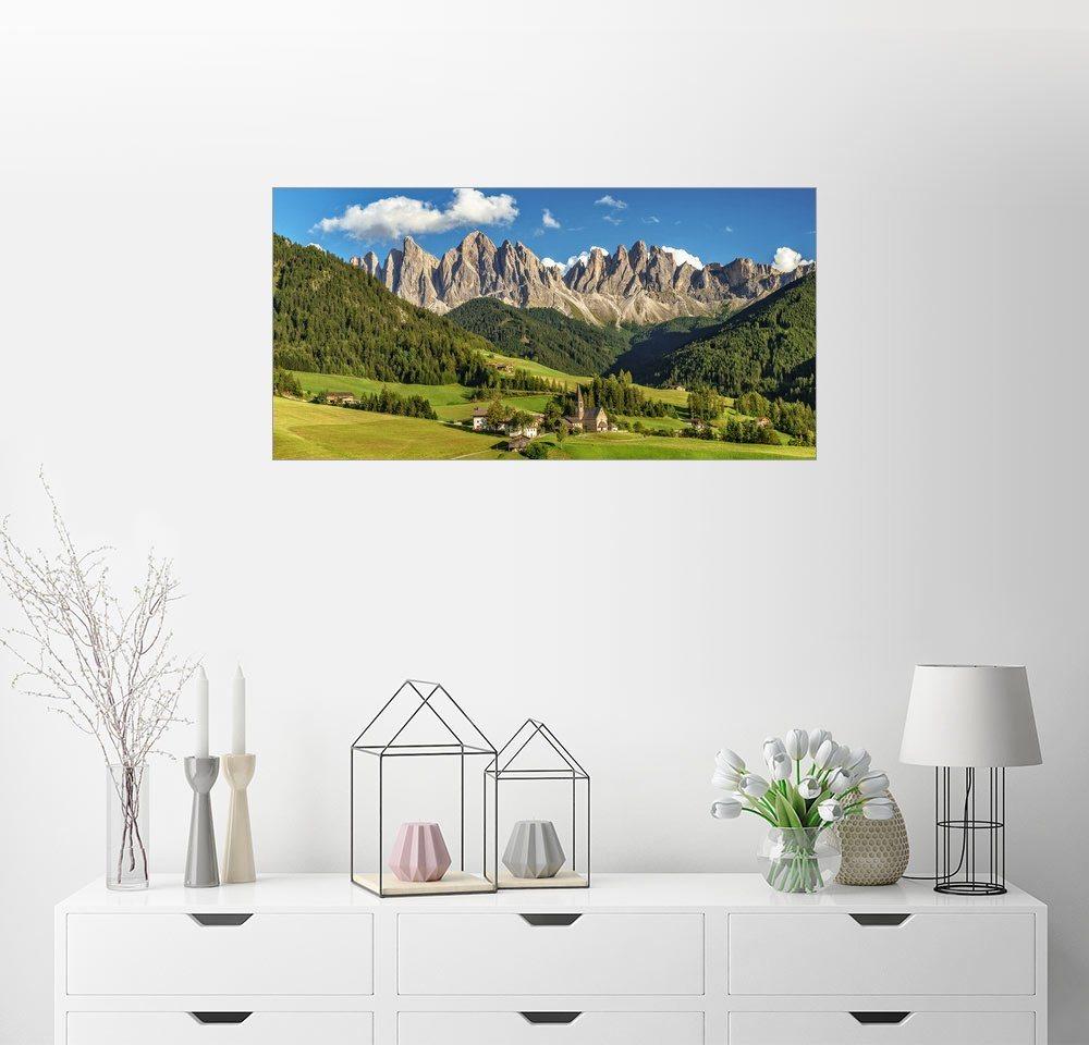 Posterlounge Wandbild - Achim Thomae »Villnösstal mit Blick auf die Geislerspitzen ...« | Dekoration > Bilder und Rahmen > Bilder | Holz | Posterlounge