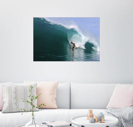 Posterlounge Wandbild - Paul Kennedy »Surfen in einem riesigen grünen Welle, tropis...«