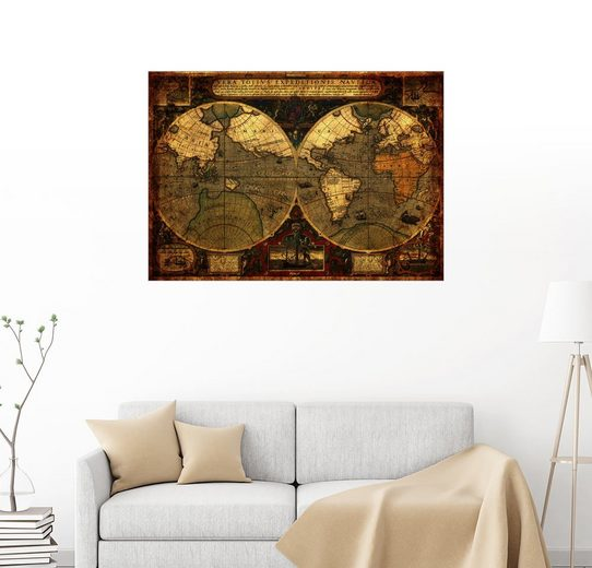 Posterlounge Wandbild - Michaels Antike Weltkarten »Welt 1595«