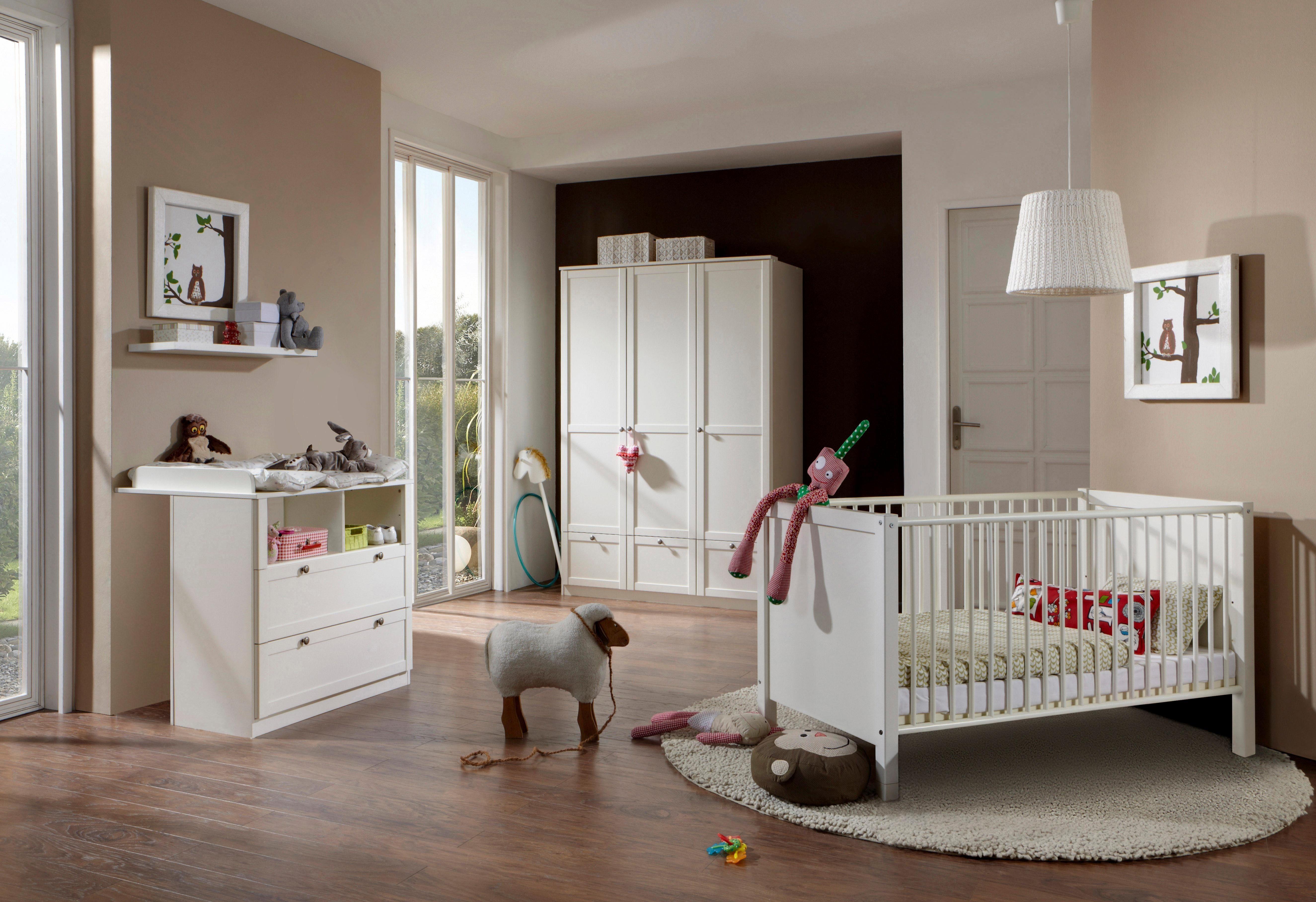 Babyzimmer komplett Set Babybett Kommode Schrank Bettwäsche Set 5 Farben MASSIV