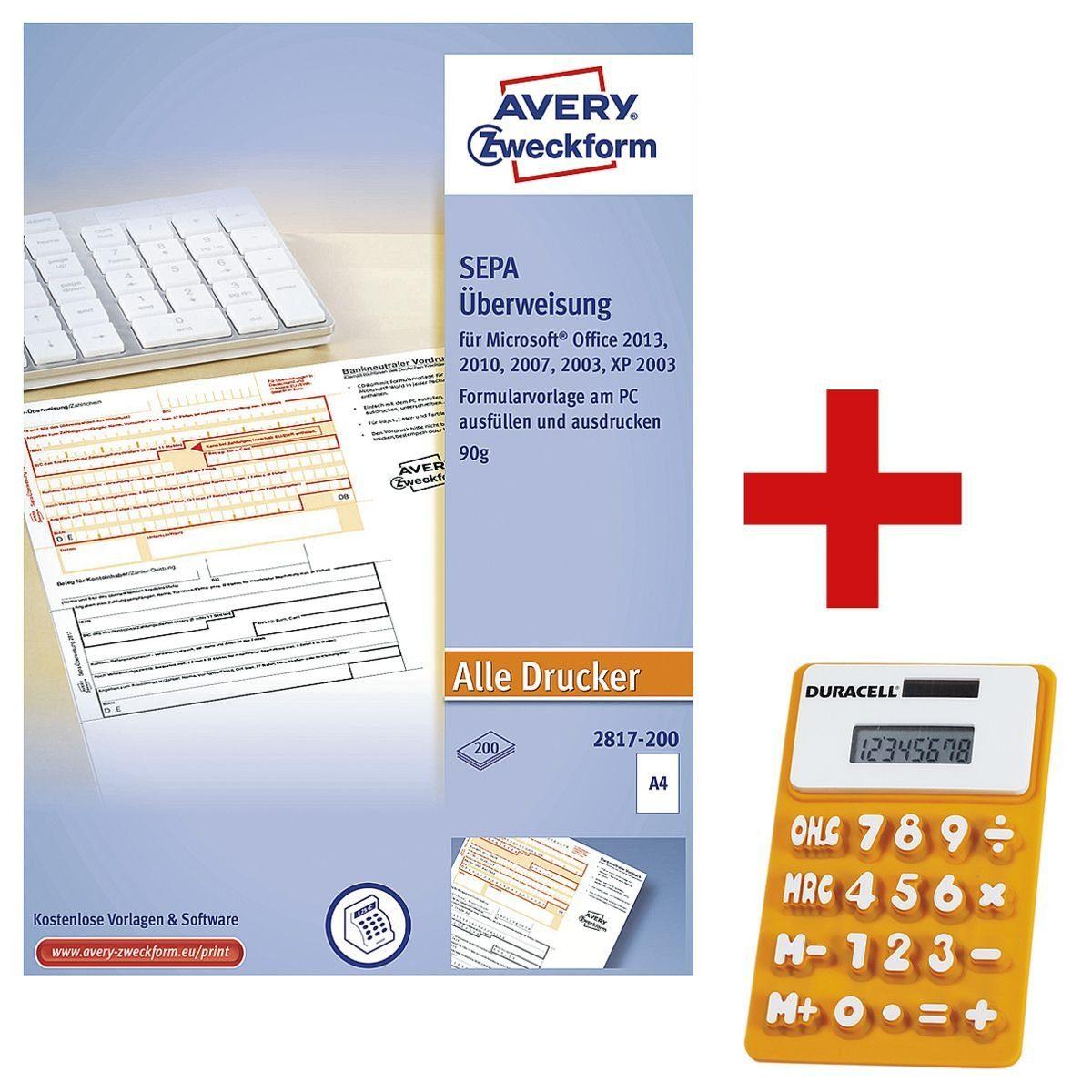 Avery Zweckform Formularvordrucke 2817-200 inkl. Solar-Taschenrechner »SEPA-Überweisung« 1 Set