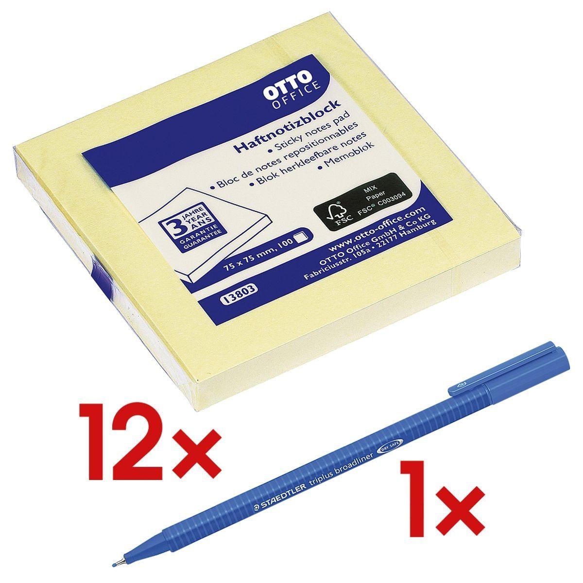 OTTOOFFICE STANDARD Haftnotizblock 7,5 x 7,5 cm, 12 Stück inkl. 1x Broadliner »triplus«, (1 Set)