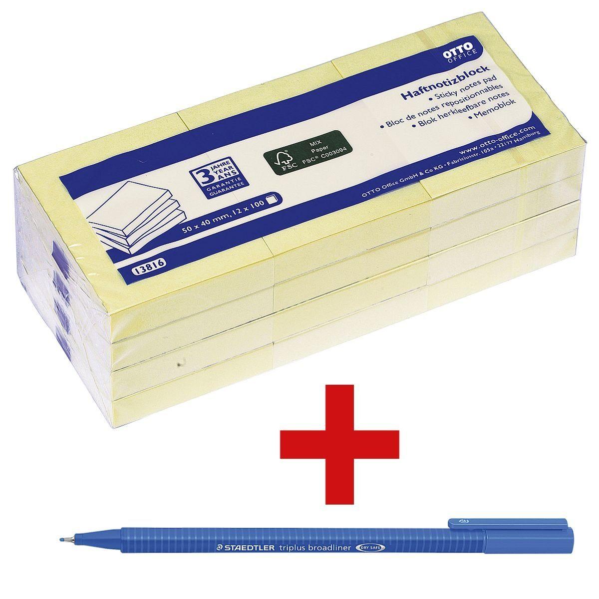 OTTOOFFICE STANDARD Haftnotizblock 5,0 x 4,0 cm, 12 Stück inkl. 1 Broadliner »triplus« 1 Set