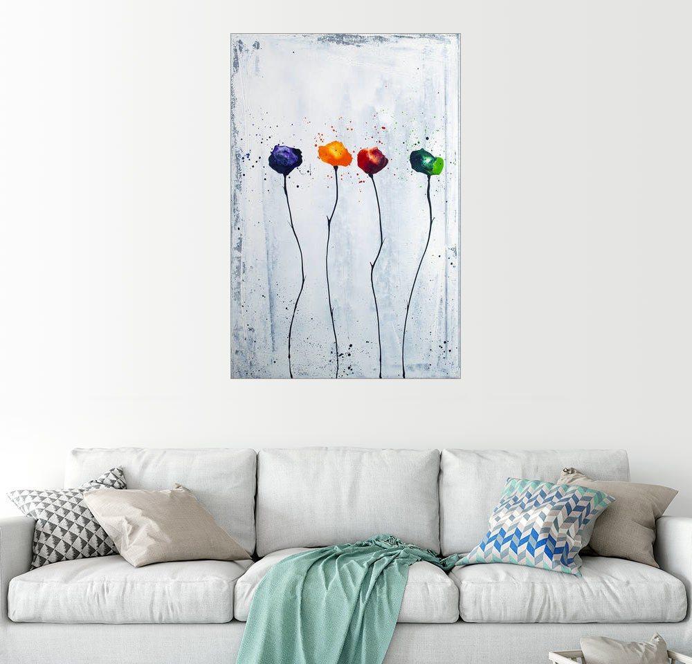 Posterlounge Wandbild - Yannick Leniger »vier Blüten 2« | Dekoration > Bilder und Rahmen > Bilder | Holz | Posterlounge
