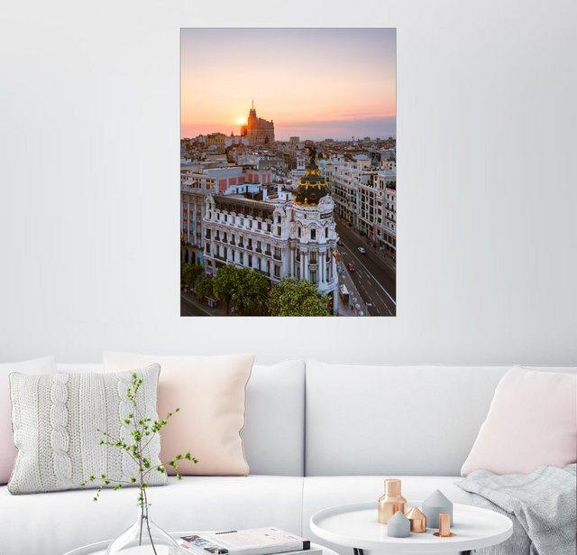 Posterlounge Wandbild - Matteo Colombo »Gran Via bei Sonnenuntergang  Madrid«   Dekoration > Bilder und Rahmen > Bilder   Bunt   Holz - Aluminium   Posterlounge