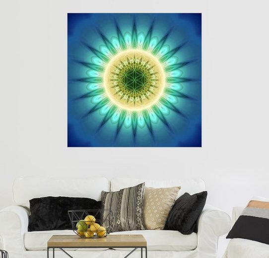 Posterlounge Wandbild - Christine Bässler »Mandala blaues Licht mit Blume des Lebens«