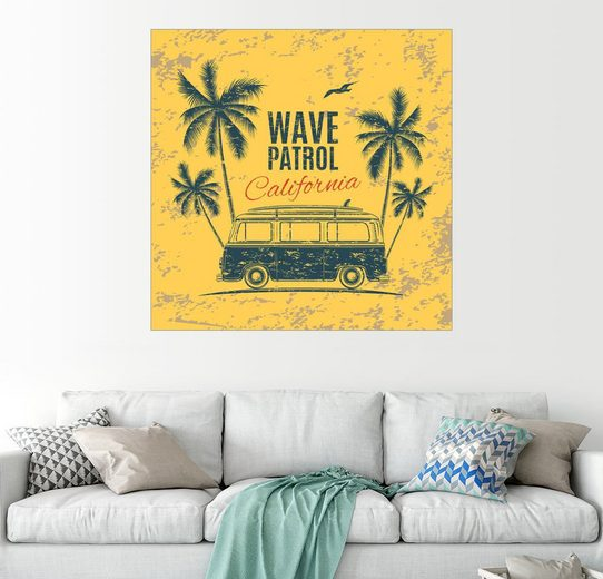 Posterlounge Wandbild »Surfer-Bulli unter Palmen«