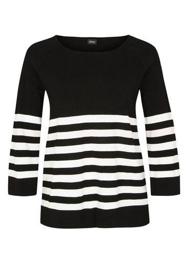 s.Oliver BLACK LABEL Glatter Pullover mit Streifen
