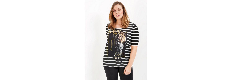 Samoon T-Shirt Kurzarm Rundhals Ringel-Shirt mit Art-Print