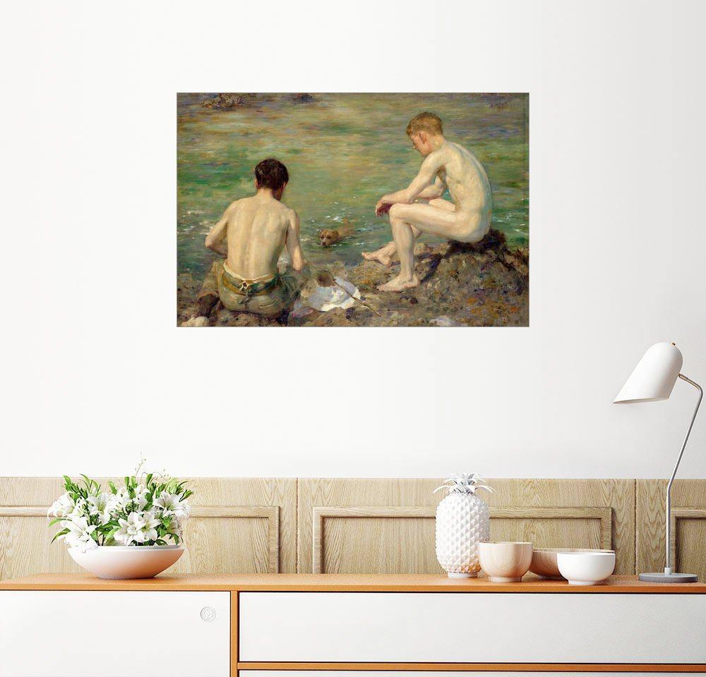 Posterlounge Wandbild - Henry Scott Tuke »Drei Gefährten« | Dekoration > Bilder und Rahmen > Bilder | Holz | Posterlounge