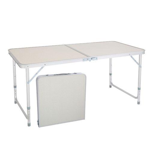 FCH Campingtisch, Alu Klapptisch Höhenverstellbar 120x60cm - Camping Tisch Picknick Tisch Alutisch