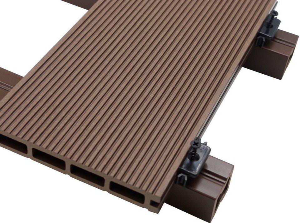 home deluxe komplett set wpc terrassendielen inkl unterkonstruktion 1 m dunkelbraun. Black Bedroom Furniture Sets. Home Design Ideas