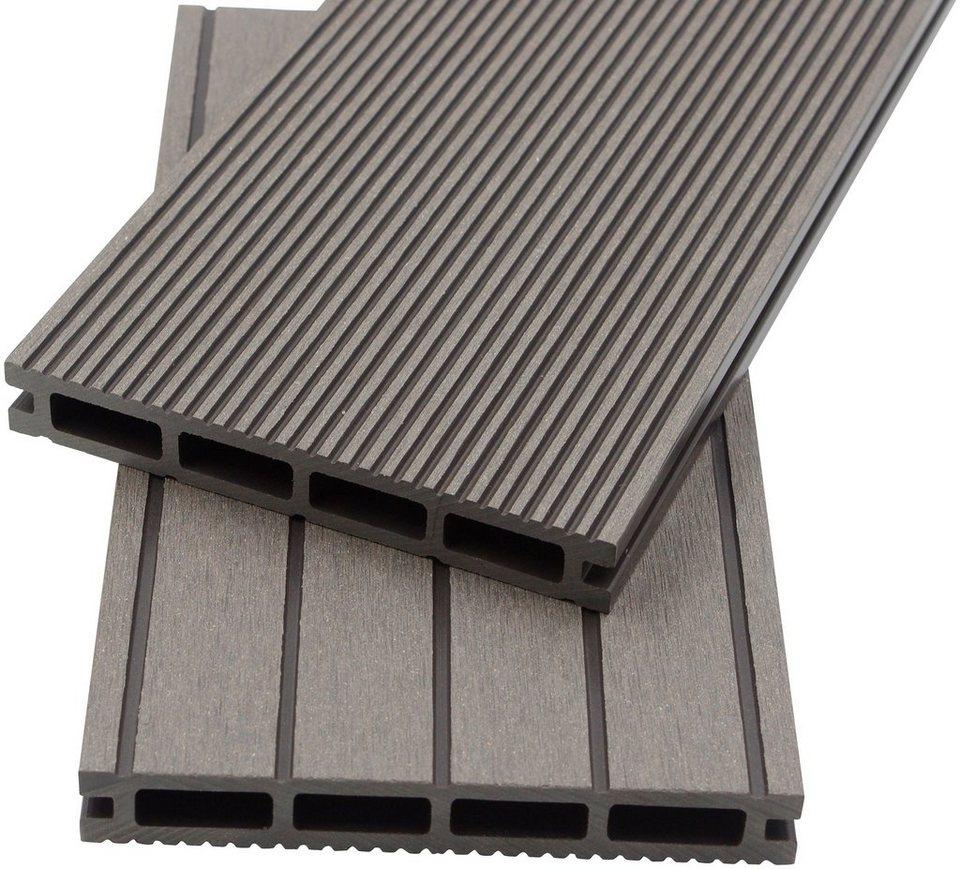 home deluxe komplett set wpc terrassendielen inkl unterkonstruktion 12 m hellgrau online. Black Bedroom Furniture Sets. Home Design Ideas