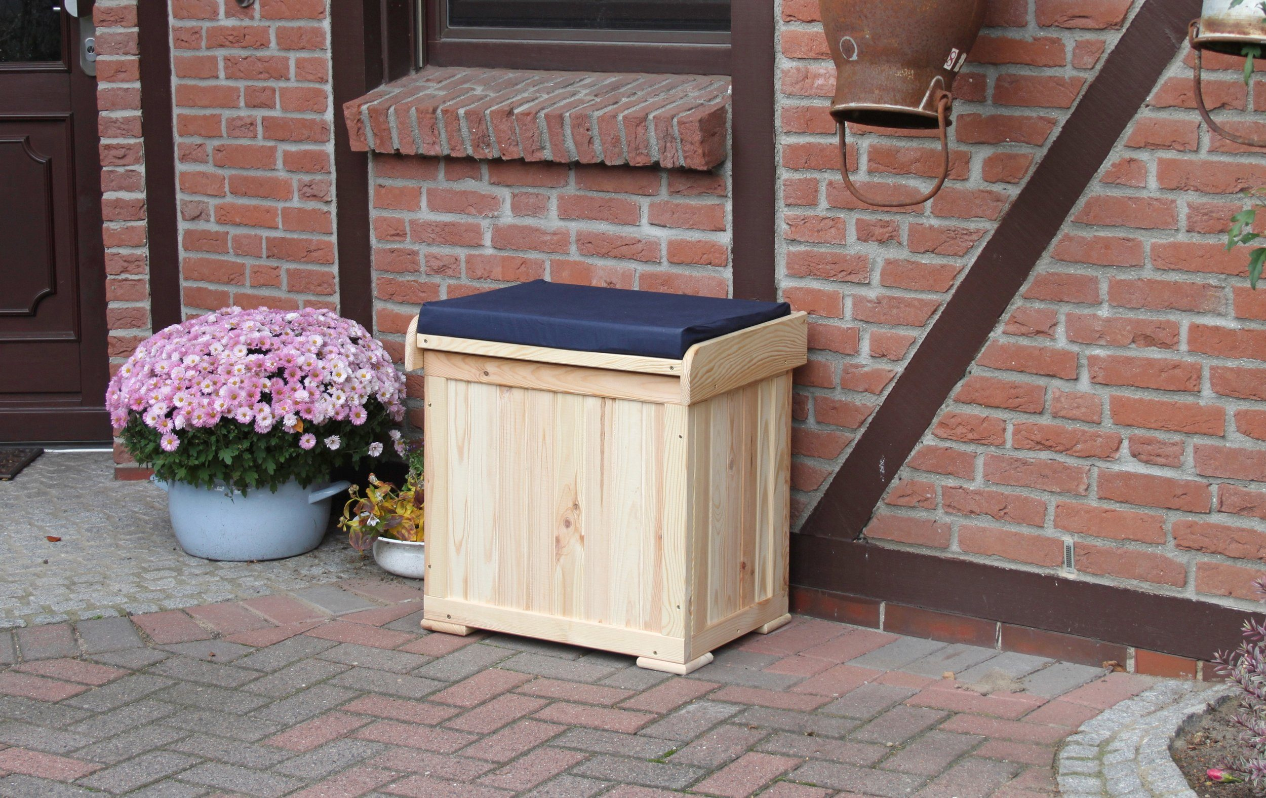 PROMADINO Kissenbox »Patrick«, mit blauer Sitzauflage, BxTxH: 53x43x56 cm