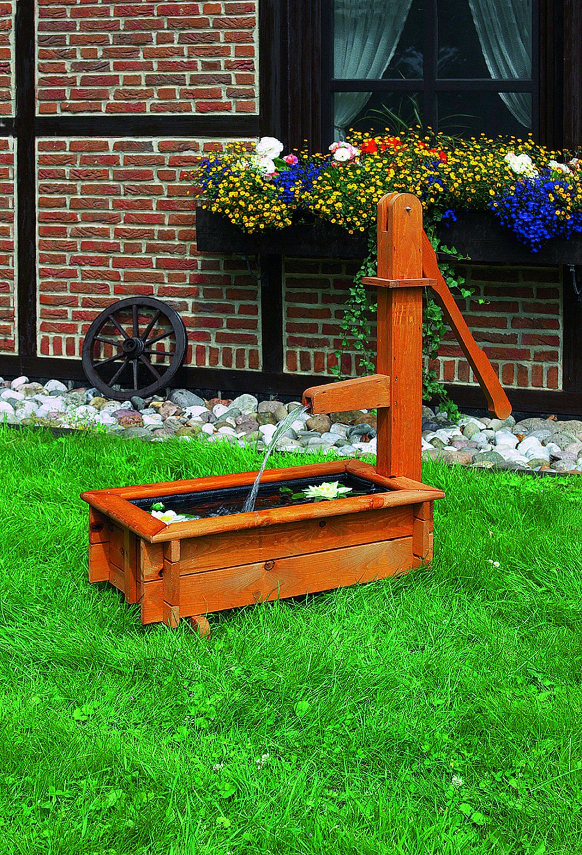 PROMADINO Wasserspiel , rechteckig, mit Zier-Holzschwengelpumpe