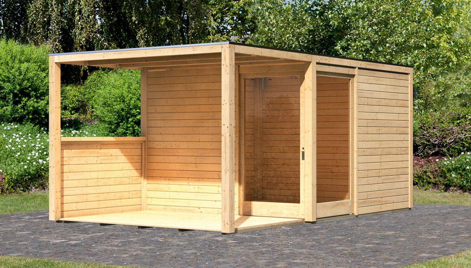 KARIBU Gartenhaus »Cubu Eck«, Gesamtmaß (BxT): 502x304 cm, mit Anbaudach