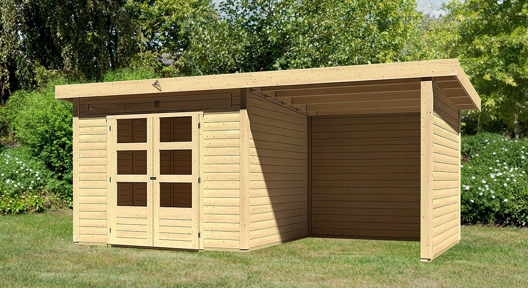 KARIBU Gartenhaus »Kandern 6«, Gesamtmaß (BxT): 612x303 cm, mit Anbaudach | Garten > Gartenhäuser | Karibu