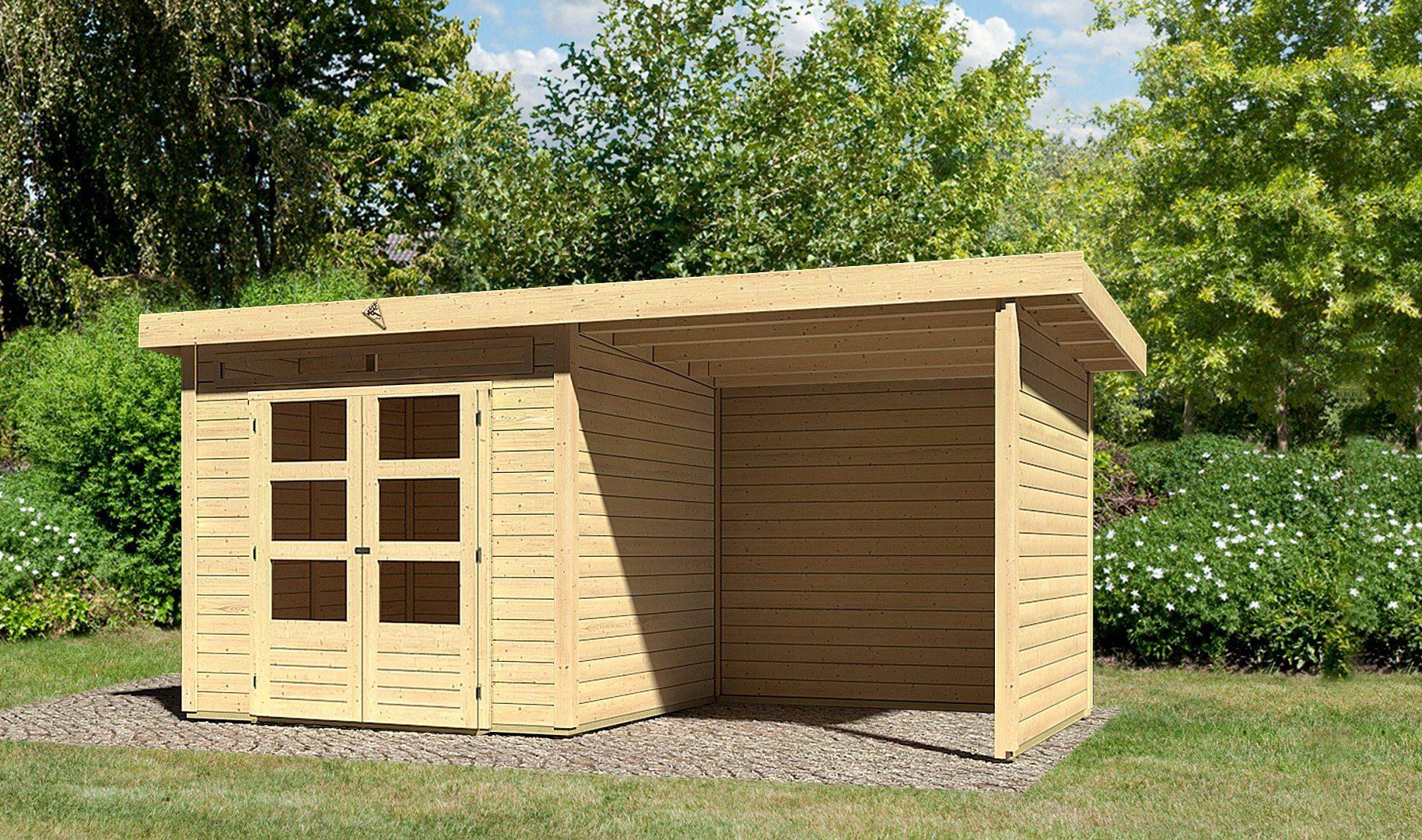 KARIBU Set: Gartenhaus »Kandern 3«, BxT: 522x273 cm, inkl. Anbaudach mit Seiten- und Rückwand