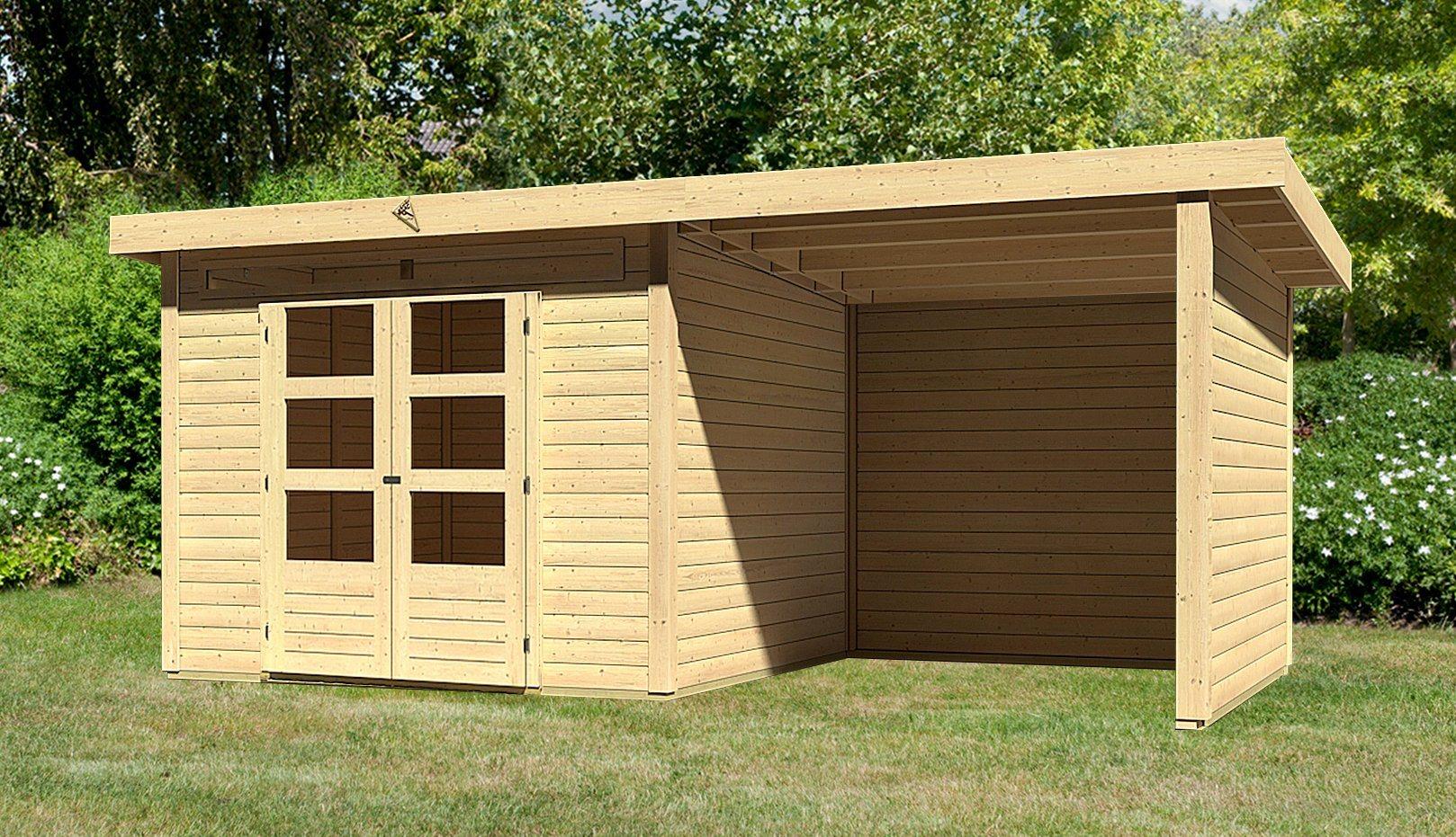 KARIBU Gartenhaus »Kandern 6«, Gesamtmaß (BxT): 552x303 cm, mit Anbaudach | Garten > Gartenhäuser | Karibu