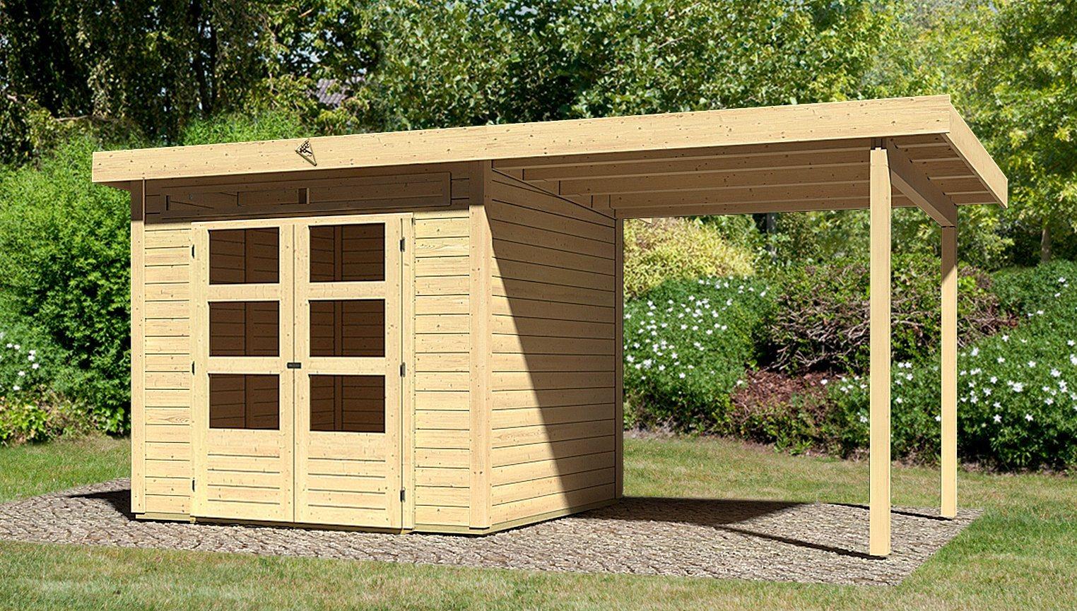 KARIBU Set: Gartenhaus »Kandern 3«, BxT: 522x273 cm, inkl. Anbaudach | Garten > Gartenhäuser | Karibu