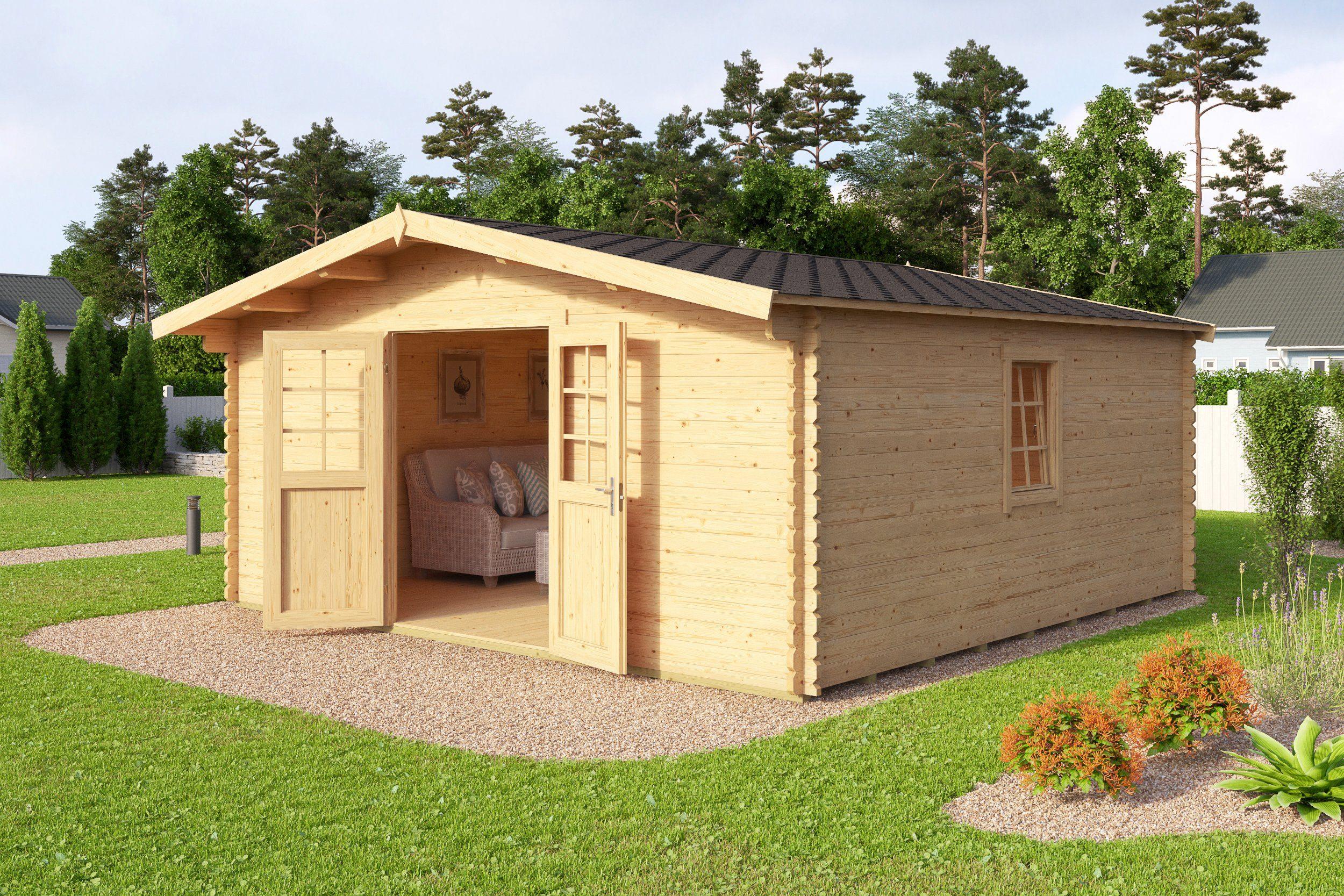 Fußboden Gartenhaus Holz ~ Gartenhaus blockhaus m m terrasse und fußboden in