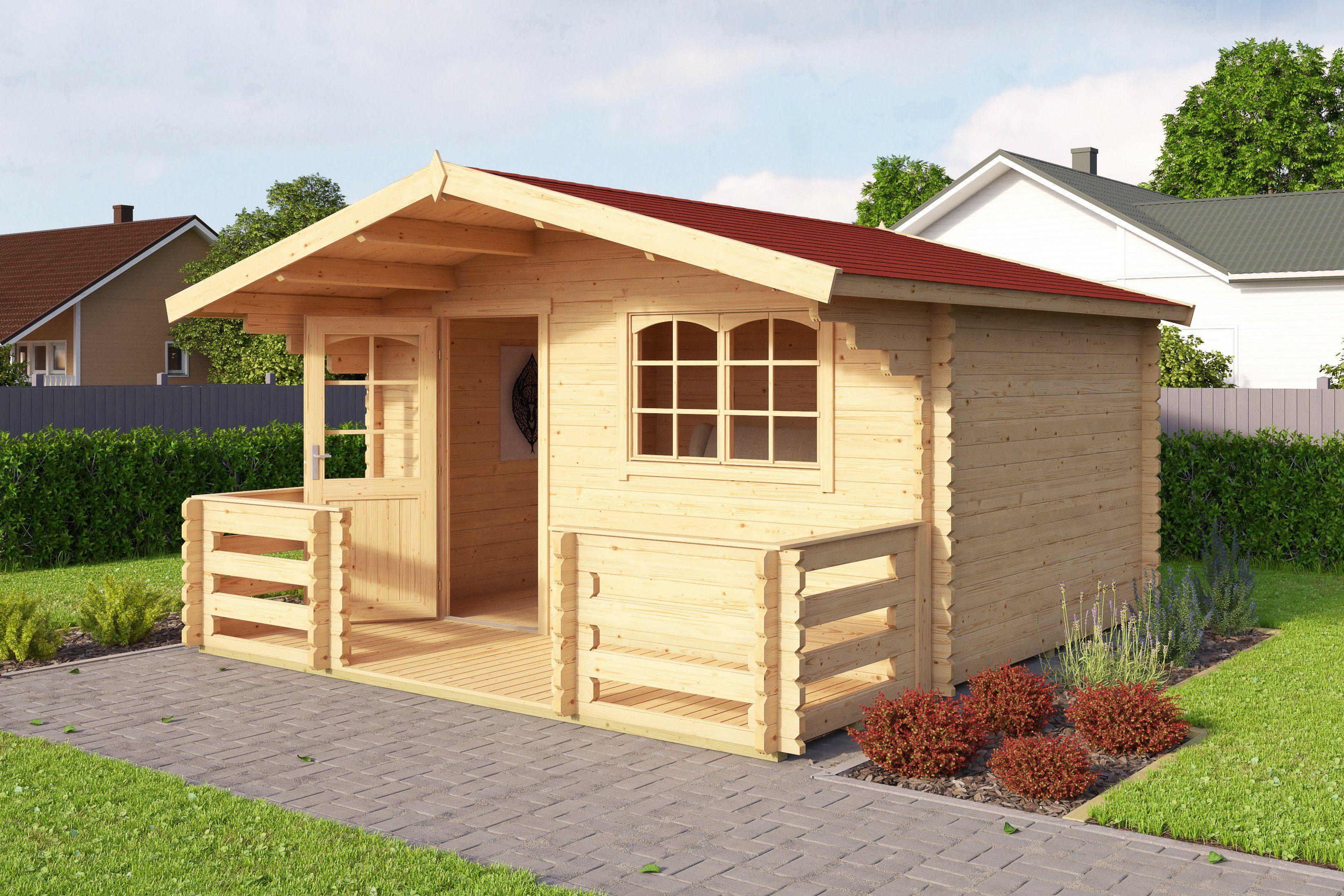 OUTDOOR LIFE PRODUCTS Set: Gartenhaus »Valga 28«, BxT: 400x430 cm, inkl. Terrasse, Fußboden und Dachschindeln