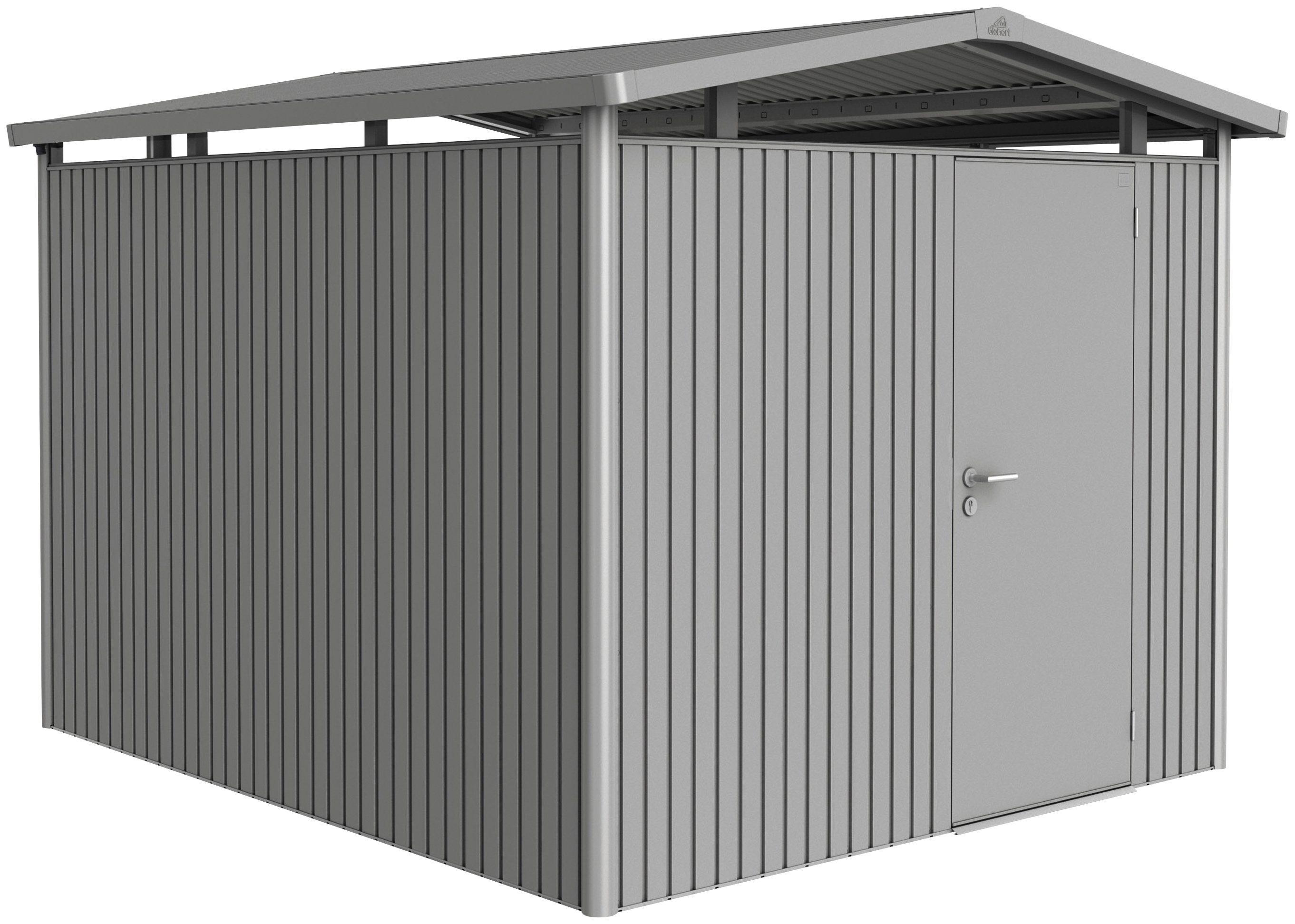 BIOHORT Stahlgerätehaus »Panorama P5 DT«, quarzgrau-metallic, BxT: 273x318 cm | Garten > Gerätehäuser | Biohort