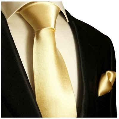 Paul Malone Krawatte »Herren Seidenkrawatte Schlips mit Tuch modern uni satin 100% Seide« (Set, 2-St., Krawatte mit Einstecktuch) Schmal (6cm), gold sand 980