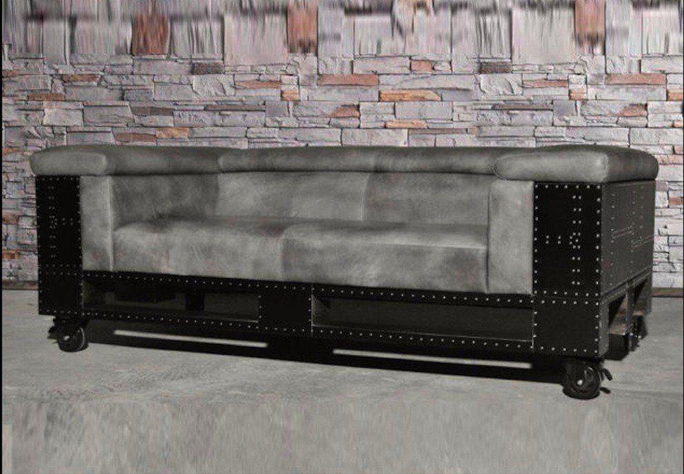 Kasper-Wohndesign Ledersofa dunkelgrau 2-Sitzer »Luna«