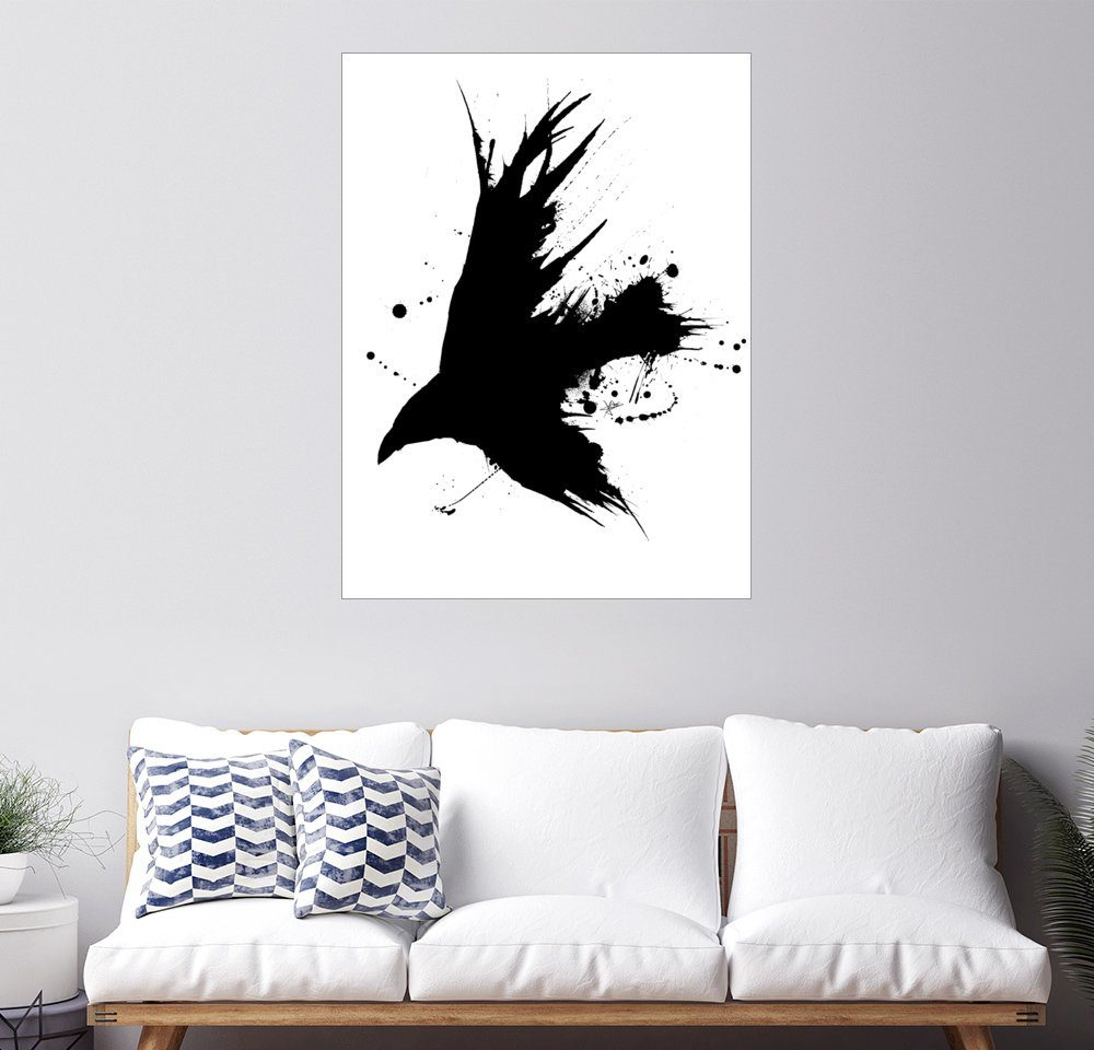 Posterlounge Wandbild - Christian Klute »Rabe Ink Black«