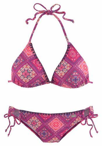 Damen Buffalo Triangel-Bikini mit Häkelkante in Kontrastfarbe rot | 04893865884528