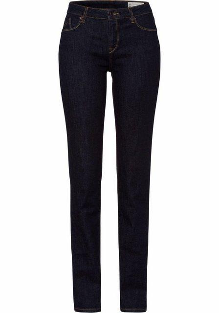 Damen Esprit Straight-Jeans im Five-Pocket-Design mit hellen Ziernähten und dunkelblauer Waschung blau | 04057966252130