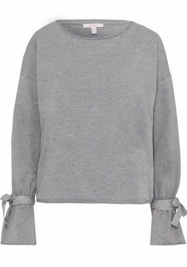 ESPRIT Sweatshirt, mit Bindebändern an den Ärmeln