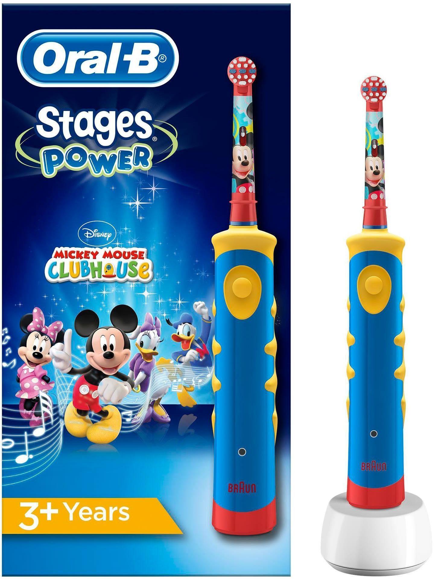 Oral B Elektrische Kinderzahnbürste Stages Power Kids, Aufsteckbürsten: 1 St., mit Disney-Micky-Maus