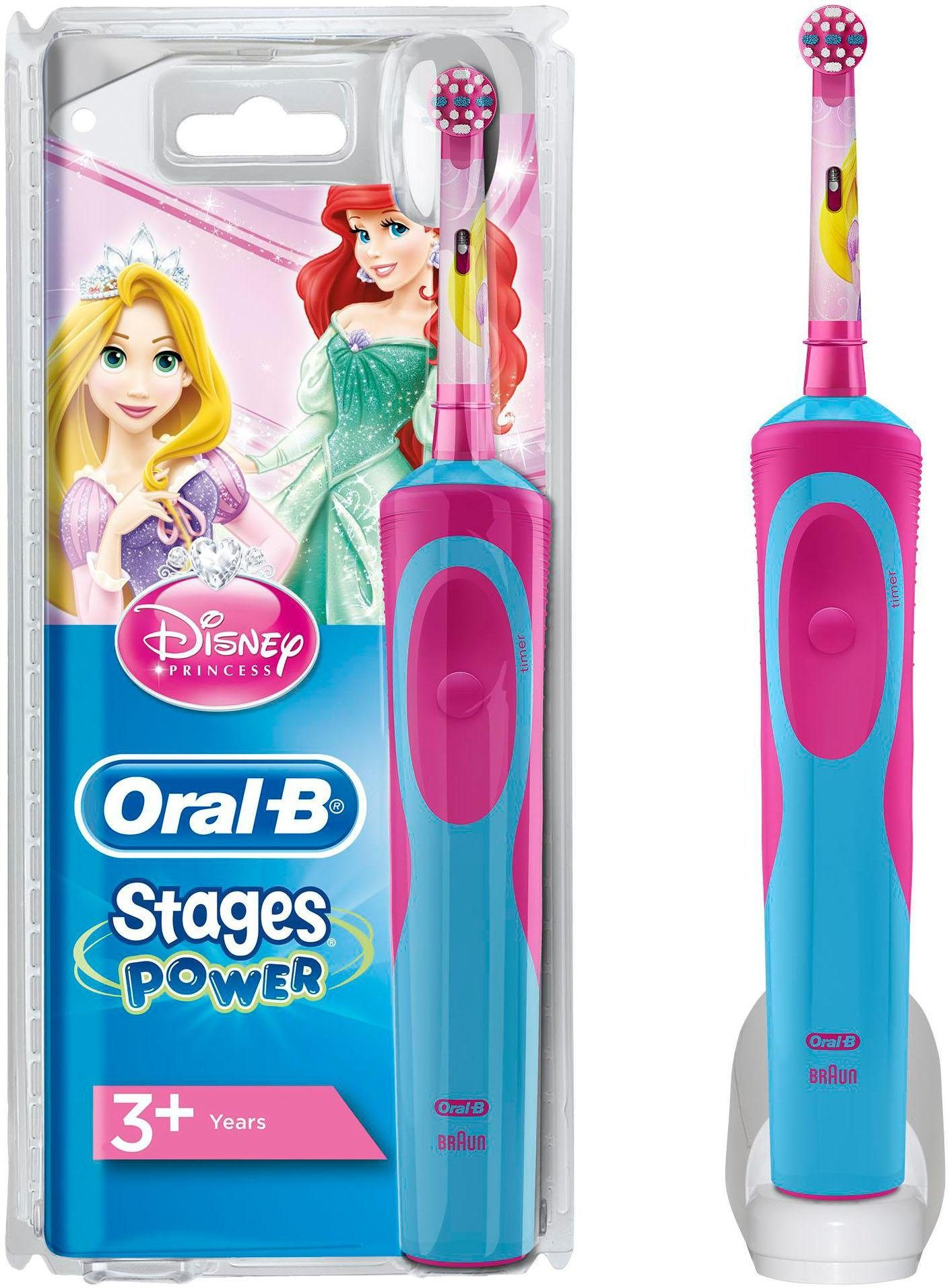 Oral B Elektrische Kinderzahnbürste Stages Power, Aufsteckbürsten: 1 St., Motiv Disney-Prinzessinnen