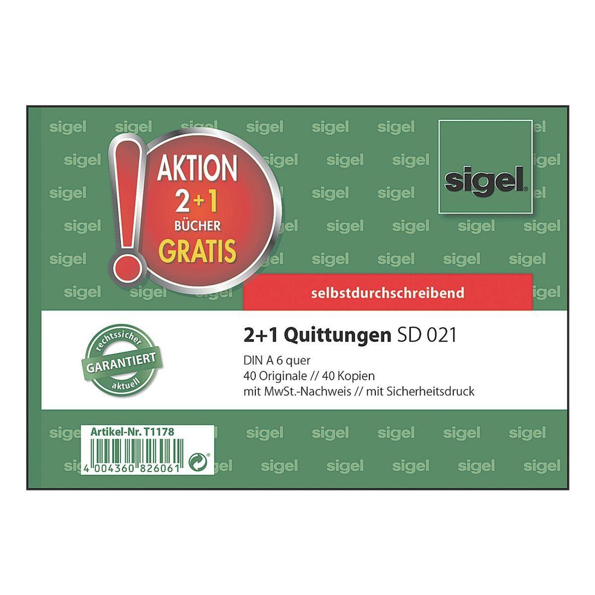 Sigel Formularbuch 2+1 Aktion »SD 021 - Quittung mit MwSt.«