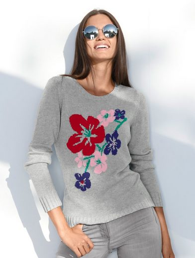 Pull Amy Vermont Avec Floral Intarsia