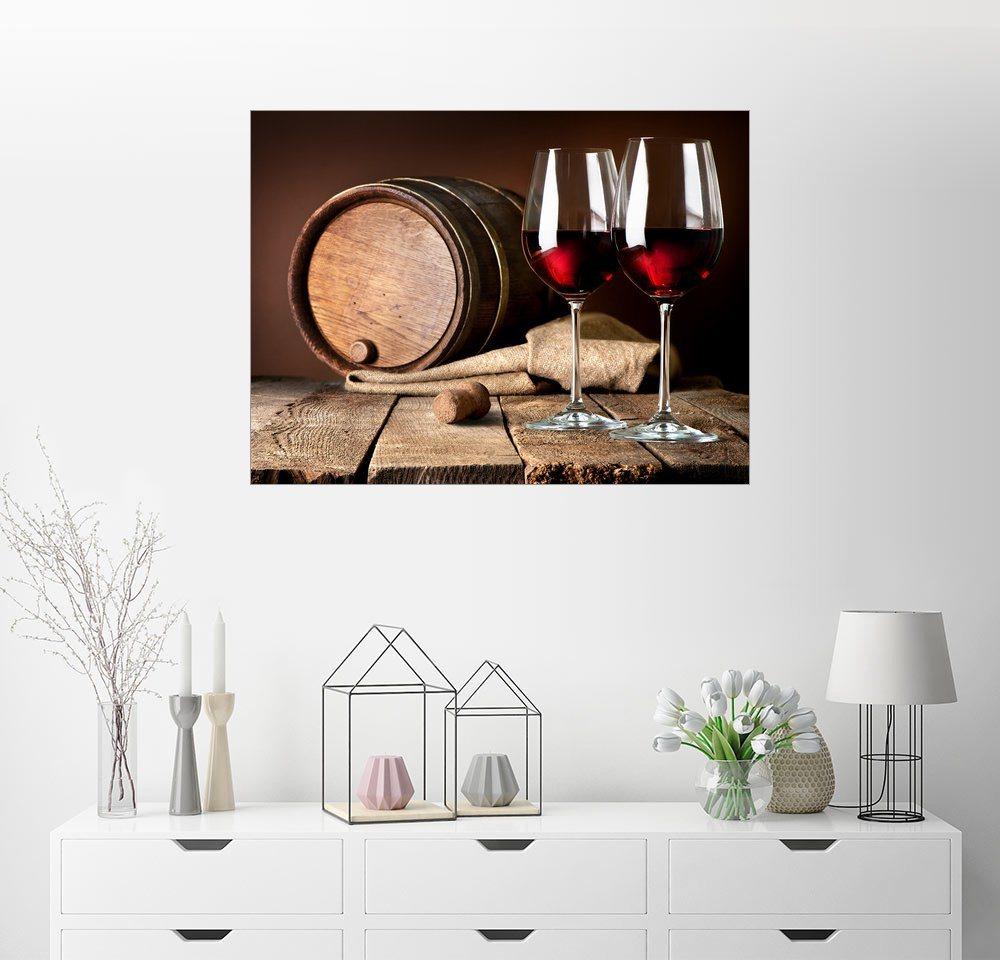 Posterlounge Wandbild Fass und Weingläser mit Rotwein bunt,mehrfarbig | 04053824502775