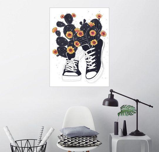 Posterlounge Wandbild - Valeriya Korenkova »Sneakers with cactus«