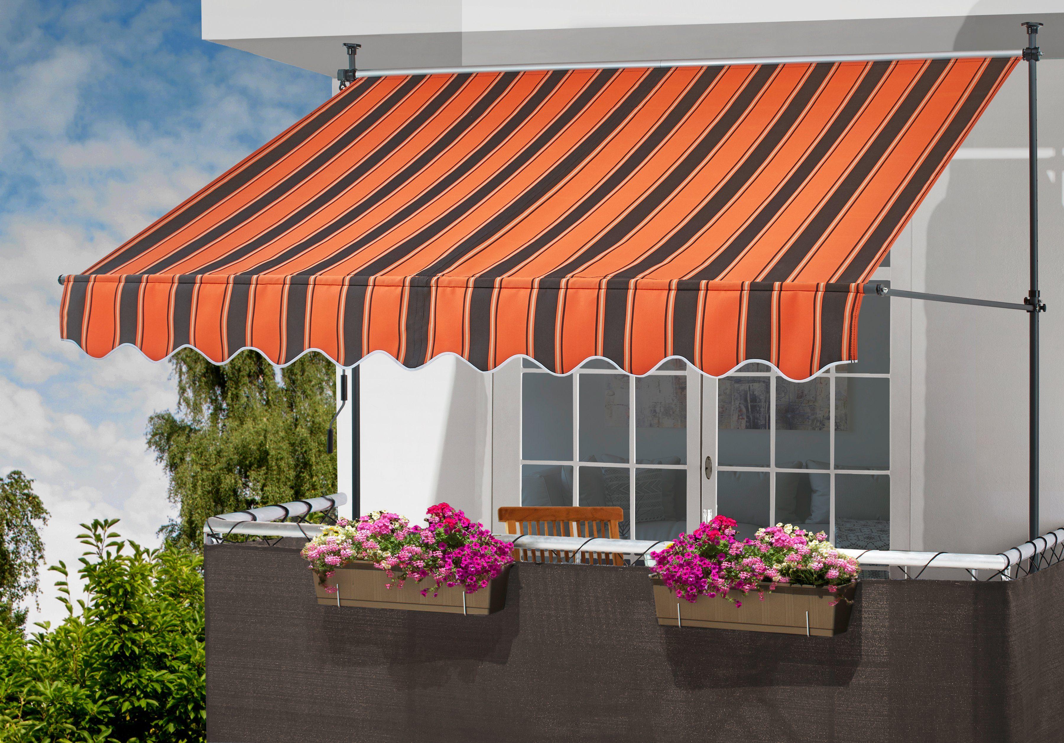 KONIFERA Klemmmarkise orange/braun, Breite: 350 cm