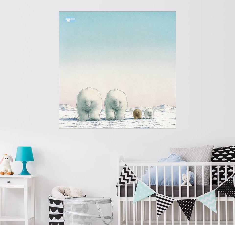 Posterlounge wandbild der kleine eisb r und seine familie - Wandbild familie ...