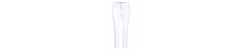MAC 7/8-Jeans Angela Zip, Stickerei in bleu und grey und Galonstreifen