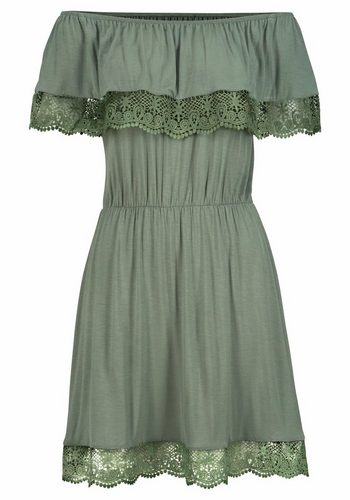 Damen s.Oliver RED LABEL Beachwear Strandkleid mit Spitzenbesatz grün | 06937206008377