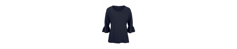 Clarina Rundhalsshirt, Shirt mit Volant-Ärmeln