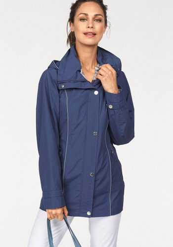 Damen windfield By DANWEAR Funktionsjacke mit reflektierenden Paspeln und abnehmbarer Kapuze wasser- und winddicht blau | 05710289985022