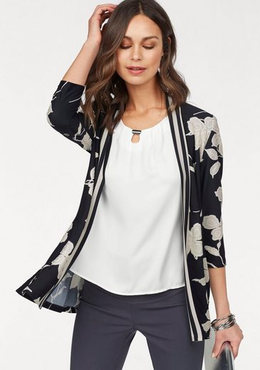 HERMANN LANGE Collection Shirtjacke, festliche Jersey-Jacke mit floralem Druck