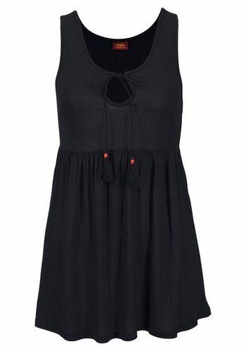 Damen Buffalo Strandtop mit Zierkordel am Ausschnitt schwarz | 08907682082770