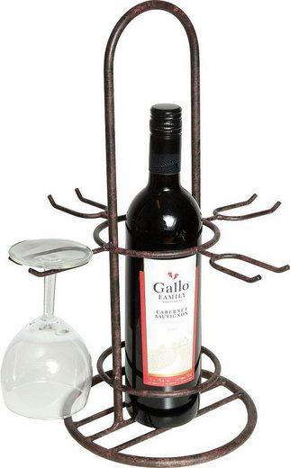 Home affaire Flaschenträger, mit Glashalter, Höhe 40 cm, antikbraun
